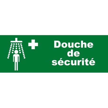 Plaque acrylique securite 150x40mm douche de securite