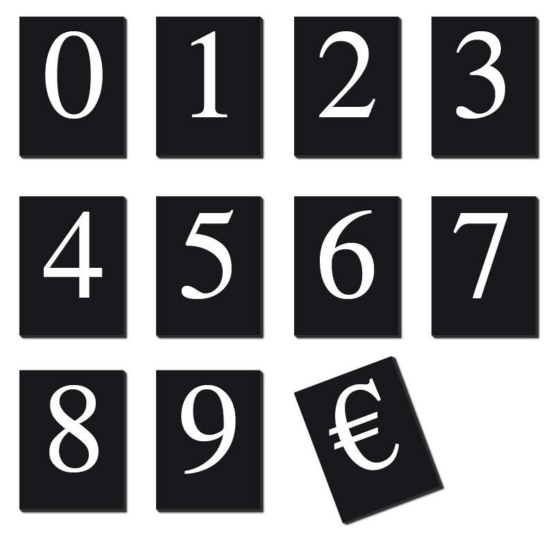 caracteres prix 20mm (lot de 110) texte blanc