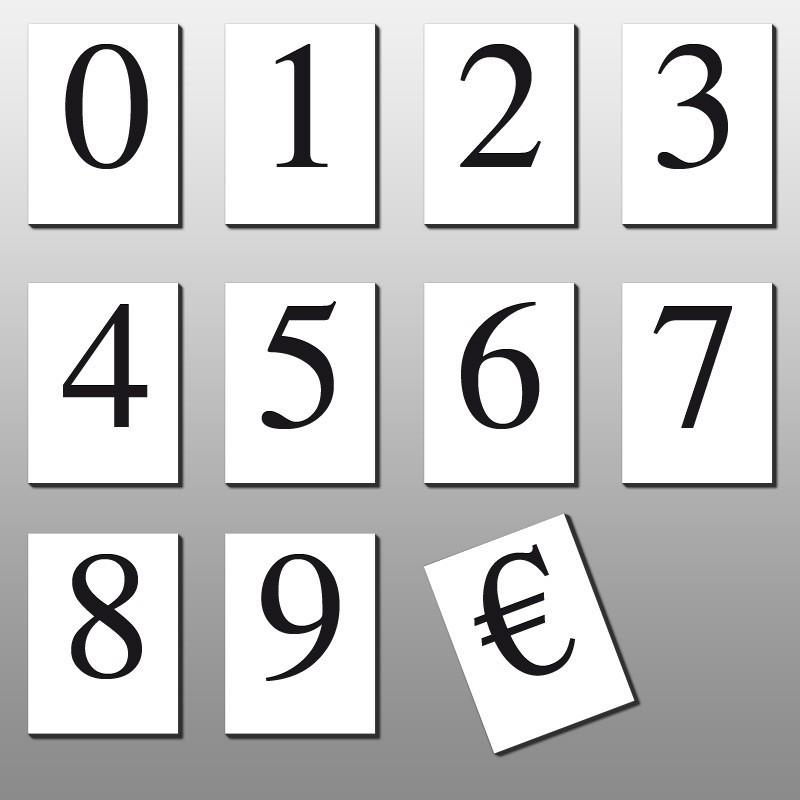 caracteres prix 30mm (lot de 110) texte noir