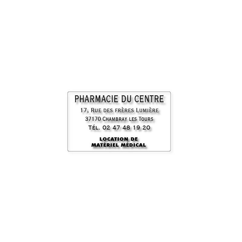 420 étiquettes de pharmacie POLYESTER TRANSPARENTES PERSONNALISEES 63 x 38 mm