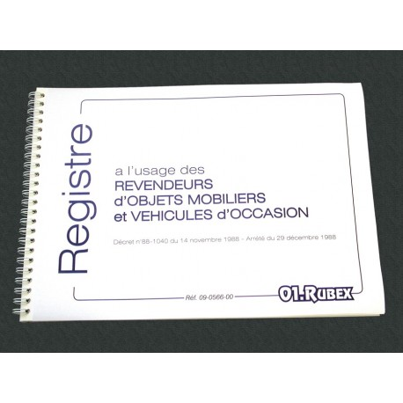 registre objets mobiliers et vehicules occasion 100p foliotees