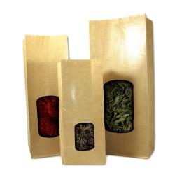 Sachet papier herboristerie 136+74x315mm à fenetre (par 100)