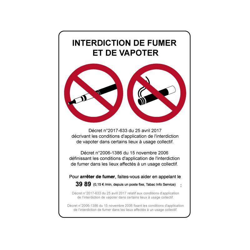 Panneau Et Sticker Interdiction De Fumer Et De Vapoter