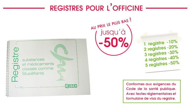 promotions -50% -40% -30% -20% -10% registres officines